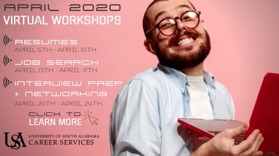 Each week in April Career Services will cover a different topic related to career development.  Make plans to join in on one or more of the live Zoom sessions!