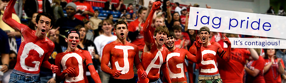 Group of students cheering at Jag game