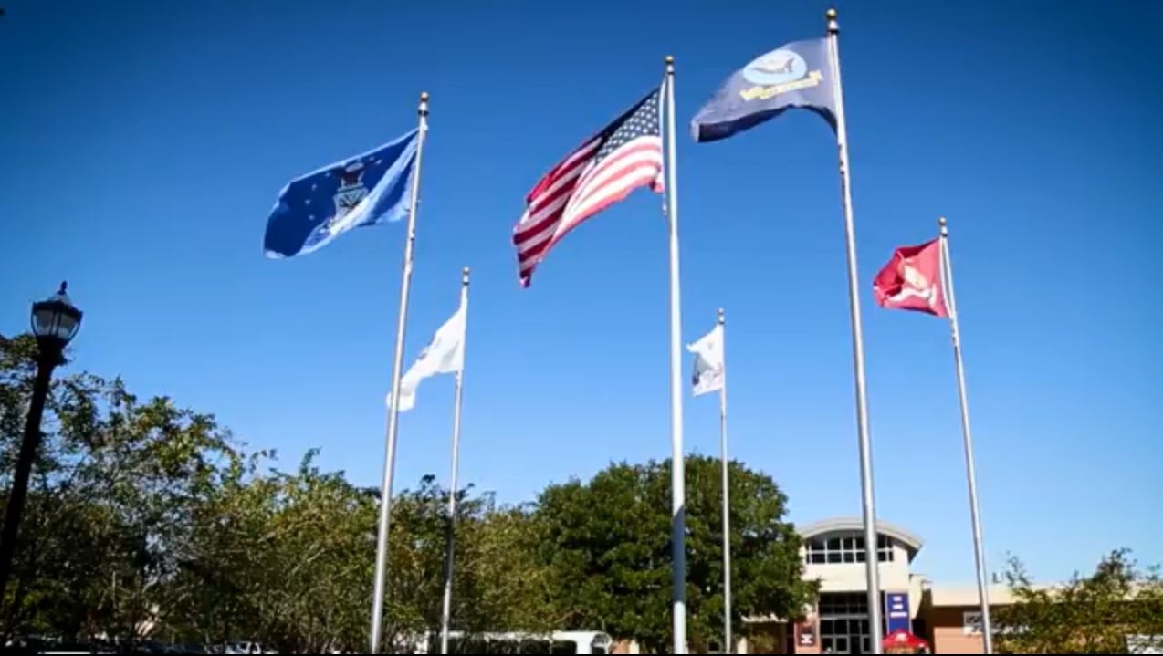 Flags in front of Student Center