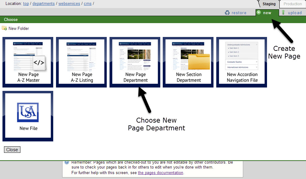 Create Department Page