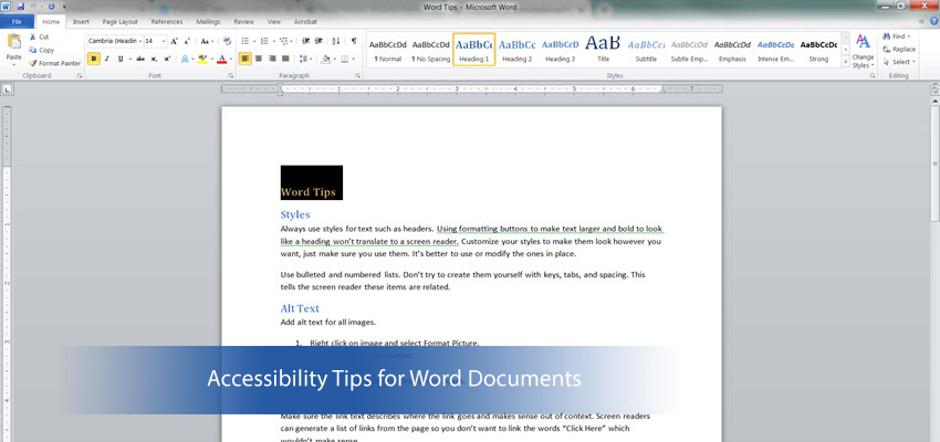 Accessibility Tips for Word Documents