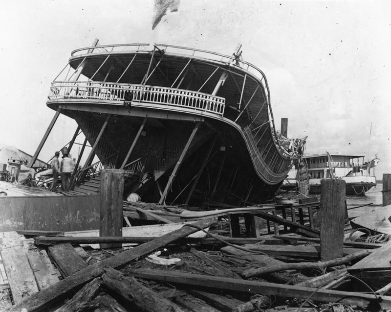 A paddle boat heavily damaged by the 1906 hurricane.