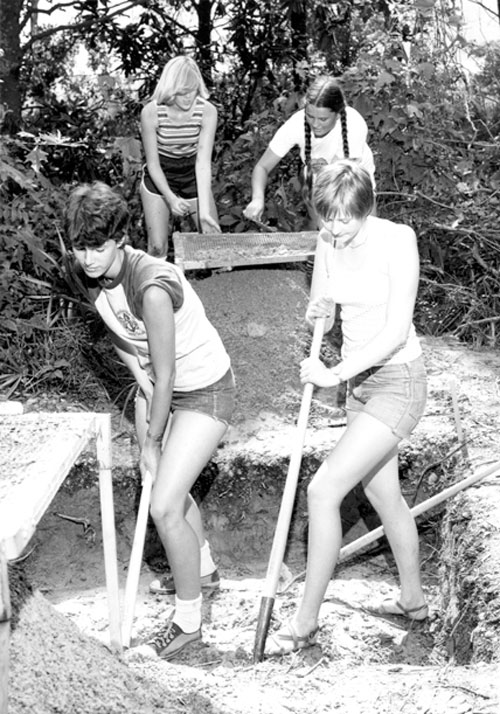 USA students digging at the Dog River archeology project in 1978.