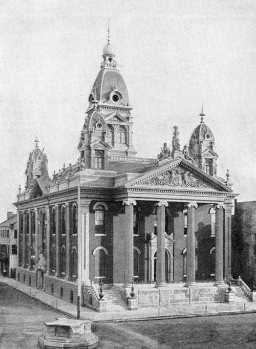 Courthouse that used to stand at the corner of Government and Royal streets. It was constructed in 1889 and designed by Rudolph Benz.
