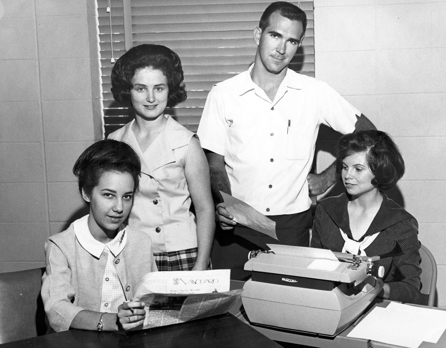 Staff of the Vanguard, USA's student newspaper, circa 1968.