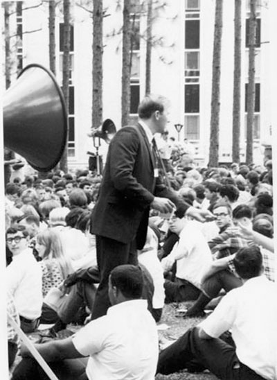 USA students in front of the Whiddon Administration Building during a political  rally in 1968.