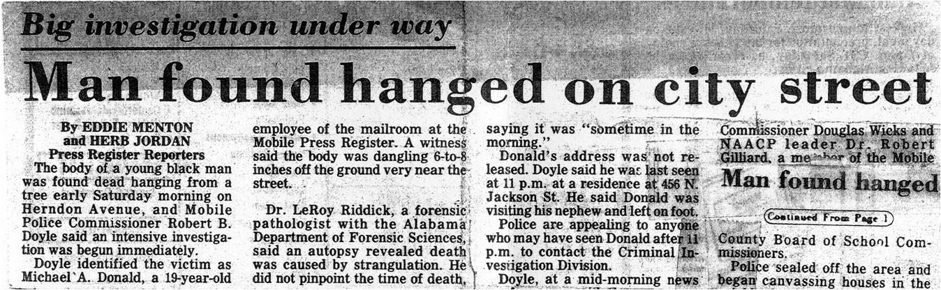 Article reporting the Donald lynching