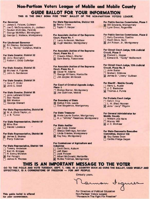 A Non-Partisan Voters League pink sheet