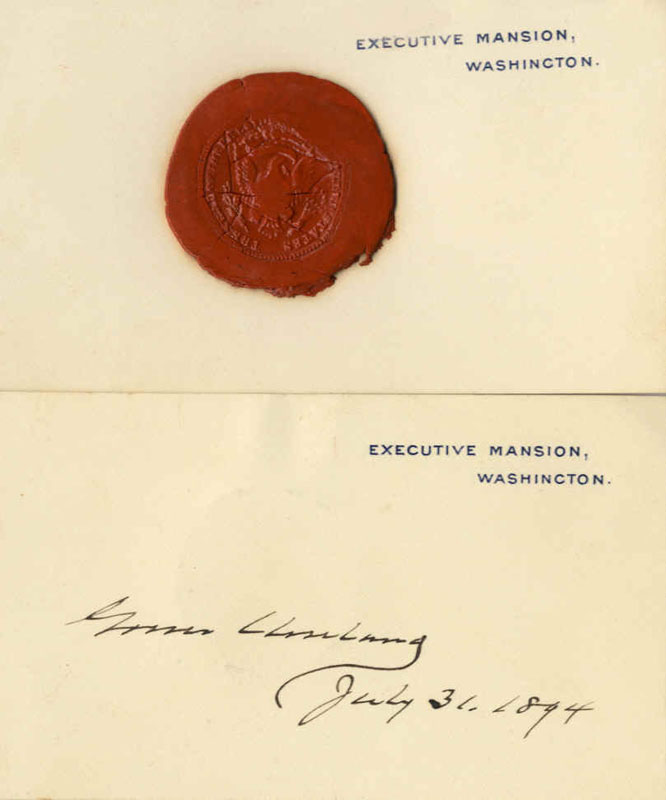 The top card shows the Great Seal of the United States. The bottom one was signed by President Grover Cleveland