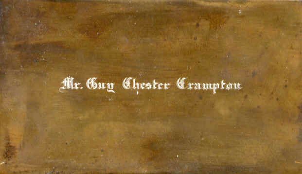 The name plate Guy Crampton used to create business cards.