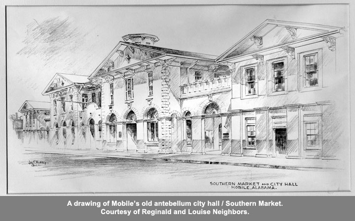 A drawing of Mobile's old antebellum city hall/Southern Market.