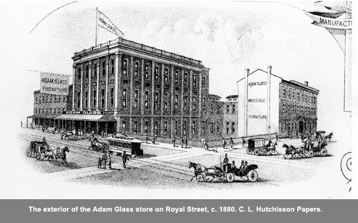 The exterior of the Adam Glass store on Royal Street, c.1880.