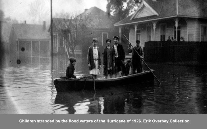 Children stranded by the flood waters