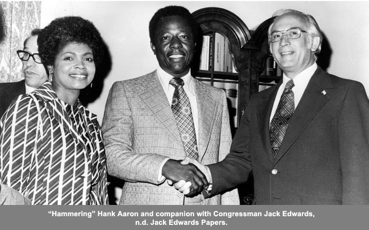 Hank Aaron and companion with congressman