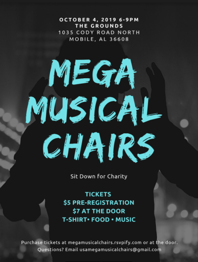 Sit down for Charity with  Mega Musical Chairs 2019 Flyer. Free Food - Free T-shirt - Free Music.  See page for details on date, location and tickets.