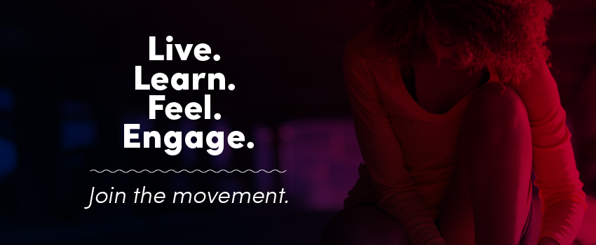 Woman tying her shoes with the words Live. Learn. Fell. Engage. Join the movement.