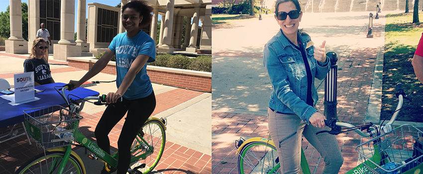 Student and Dr. Krista Harrell on Lime Bikes